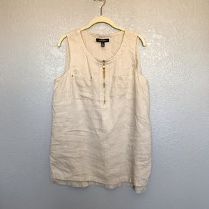 EUC Ellen Tracy Linen Two Pocket Sleeveless Top L